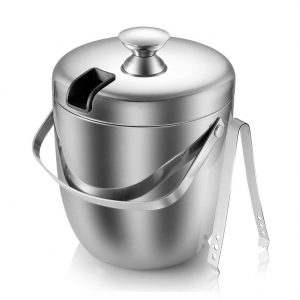 Insulated Ice Bucket,Stainless Steel Double Wall Ice Bucket with Lid and Tongs,2.8-Litre