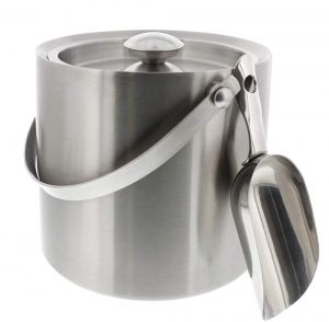 Stainless Steel Double Walled Ice Bucket with Scoop - Barware Serveware for Parties Events Gatherings